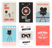 Movie night poster set. Cinema events different advertising placards. Colorful vector illustration. Royalty Free Stock Photos