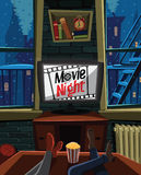 Movie night on TV in a warm apartment. Illustration Stock Images