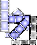 Movie nite. Film strips depicting movie time nite on white in various formats Royalty Free Stock Photography