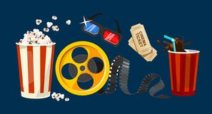Movie object set in cartoon style. Popcorn, 3D glasses, cinema tickets, drink in the craft cup, reel, tape isolated on blue. Background. Vector colorful set of royalty free illustration