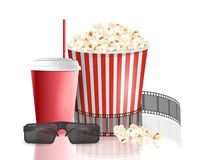 Movie objects. Popcorn, soda takeaway, 3d cinema glasses. Cinema design in realistic style. Vector illustration Royalty Free Stock Image