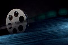 Movie film reel on dark stock photography