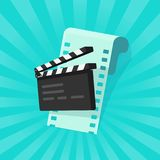 Movie or online cinema concept vector illustration, flat cartoon of clapper board and film strip, idea of video editing. Movie or online cinema concept vector Royalty Free Stock Images