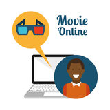 Movie online design. Vector illustration graphic Royalty Free Stock Photo