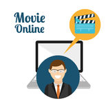 Movie online design. Vector illustration graphic Royalty Free Stock Photos