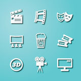 Movie paper art icons. Vector elements design Royalty Free Stock Image