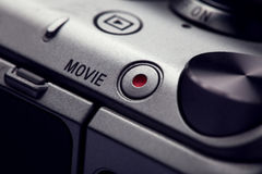 Movie play button on   body of modern audio-video devices Stock Photography