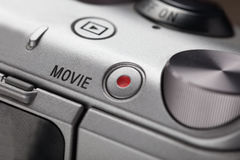 Movie play button on the body of modern audio-video devices Stock Photos