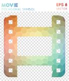 Movie polygonal symbol. Attractive mosaic style symbol. emotional low poly style. Modern design. movie icon for infographics or presentation Stock Photography