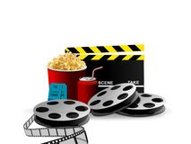 Movie and Pop Corn Royalty Free Stock Images
