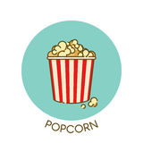 Movie Popcorn icon in outline flat design style. Vector illustration. Popcorn in striped bucket. Cinema snack. Vector illustration Stock Photos