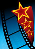 Movie poster. Poster with film and stars on blue background Royalty Free Stock Images