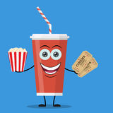 Movie poster template in cartoon style. Cute and funny soda drink character in red paper cup with smiling human face. Popcorn, tickets. Vector illustration in Stock Image