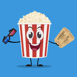 Movie poster template in cartoon style. Popcorn, 3d cinema glasses and tickets. Vector illustration in flat style Royalty Free Stock Photos