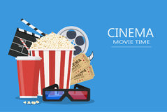 Movie poster template. Popcorn, soda takeaway, 3d cinema glasses, Film reel and tickets. Cinema design. Vector illustration in flat style Stock Photography