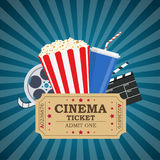 Movie poster template. Popcorn, soda takeaway, 3d cinema glasses, Film reel and tickets. Cinema design. Vector illustration in flat style Royalty Free Stock Image