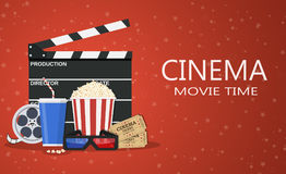Movie poster template. Popcorn, soda takeaway, 3d cinema glasses, Film reel and tickets. Cinema design. Vector illustration in flat style Royalty Free Stock Photo