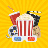 Movie poster template. Popcorn, soda takeaway, 3d cinema glasses, Film reel and tickets. Cinema design. Vector illustration in flat style Stock Images