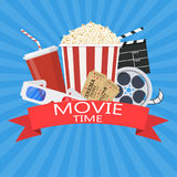 Movie poster template. Popcorn, soda takeaway, 3d cinema glasses, Film reel and tickets. Cinema design. Vector illustration in flat style Royalty Free Stock Photos