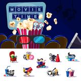 Movie Premiere Concept. With snacks soda tickets 3D glasses chairs award and equipment for cinema production vector illustration Royalty Free Stock Photography