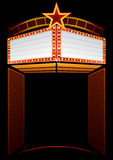Movie premiere. Entrance to cinema with big neon Royalty Free Stock Photos