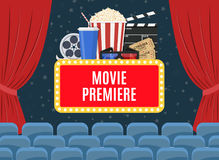 Movie premiere poster. Design with cinema curtains, seats and sign. Vector illustration in flat style Royalty Free Stock Image