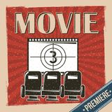 Movie premiere poster retro vintage chair and film strip countdown. Vector illustration Royalty Free Stock Photo