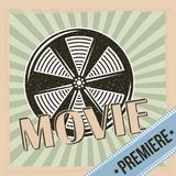 Movie premiere reel film and stripes background vintage. Icon Royalty Free Stock Photo