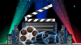 Movie Premiere Show. Vector illustration of movie premiere show at night time Royalty Free Stock Images