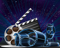 Movie Premiere Show. Vector illustration of movie, theater related and movie premiere show at night time Royalty Free Stock Photo
