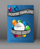 Movie presentation poster. Abstract movie poster template with film strips and colorful balloons Stock Image