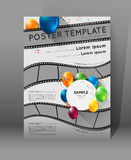 Movie presentation poster. Abstract movie poster template with film strips and colorful balloons Royalty Free Stock Image