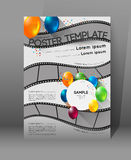 Movie presentation poster. Abstract movie poster template with film strips and colorful balloons Stock Photo