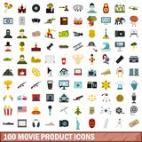 100 movie product icons set, flat style. 100 movie product icons set in flat style for any design vector illustration Vector Illustration