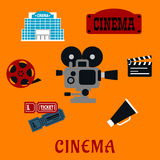Movie production and cinema flat icons Stock Photos