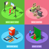 Movie Production Design Concept. Isometric movie shooting design concept with square conceptual compositions of studio stage elements equipment and actors vector Stock Images