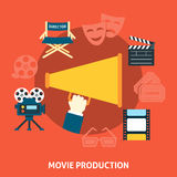 Movie production. Flat design. Movie production. Cinema flat design concept of movie production Royalty Free Stock Photography