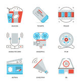 Movie production industry line icons set. Thin line icons of cinema shooting, movie making, film production, leisure entertainment, 3D glasses television Stock Photos