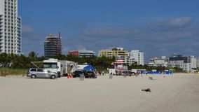 Movie production Miami Beach. 4k video of a movie production set in Miami Beach stock video