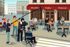Movie production scene. A vector illustration of movie production scene Stock Photography