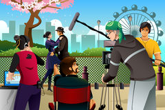 Movie Production Scene. A vector illustration of movie production scene Stock Image
