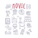 Movie Produstion And Industry Objects Collection. With Text Hand Drawn Simple Vector Illustration Is Sketch Style Royalty Free Stock Photography