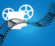 Movie projector. And film stripe on rays background royalty free illustration