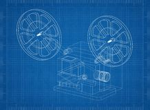 Movie projector Architect blueprint. Shoot Of The Movie projector Architect blueprint Stock Photo