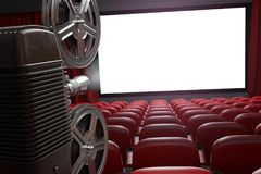 Movie projector and blank cinema screen with empty seats. Cinema. Movie or home video concept background. 3d illustration Royalty Free Stock Photo