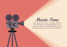 Movie Projector Retro Camera. Vector illustration Royalty Free Stock Photography