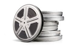 Movie reel canisters Stock Photos
