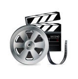 Movie reel and clapper isolated on white Royalty Free Stock Image