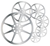 Movie Reel Grunge. Cinema movie film reels isolated over a white background Stock Photography