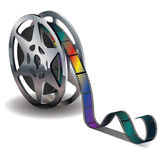 Movie Reel Icon. Film reel icon with colorful tape on white background Royalty Free Stock Photos